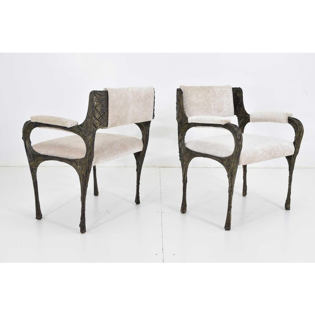1970s Set of Six Paul Evans Brutalist Sculpted Bronze and Resin Dining Chairs, 1972 For Sale - Image 5 of 13