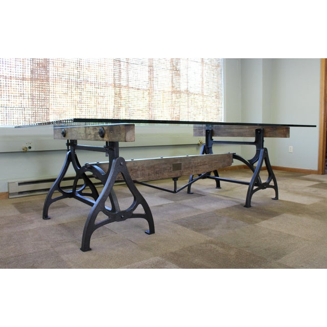 Get Back, Inc. Industrial Cast Iron & Wood Brake Conference Table For Sale - Image 4 of 11