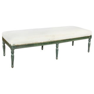 French Restauration Green Painted Bench For Sale