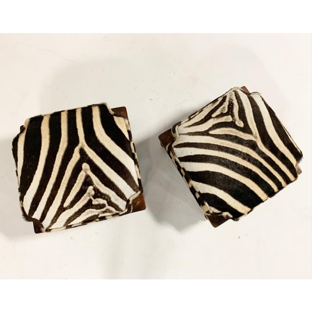 Vintage Footstools Restored in Zebra Hide - Pair For Sale - Image 4 of 7