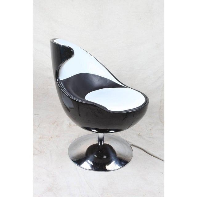1970s Pair of 1970s Space Age Atomic Swivel Leather Chairs For Sale - Image 5 of 6
