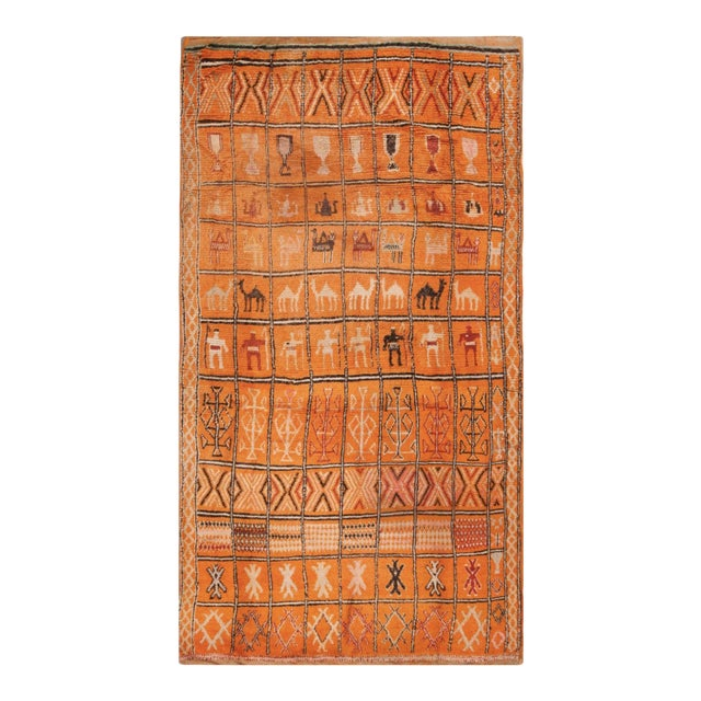 1930s Antique Moroccan Rug For Sale
