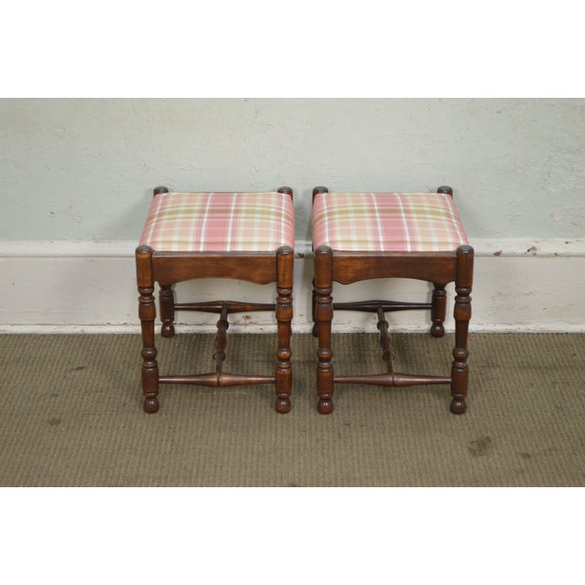 Jacobean William & Mary Style Bobbin Turned Walnut Stools or Benches - A Pair For Sale - Image 3 of 13