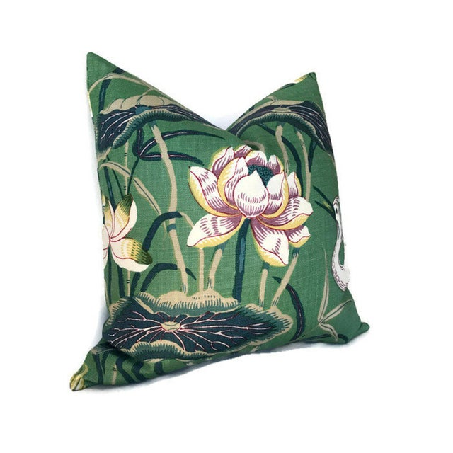 Chinoiserie Chinoiserie Lotus Jade Green Garden Pillow Cover For Sale - Image 3 of 4