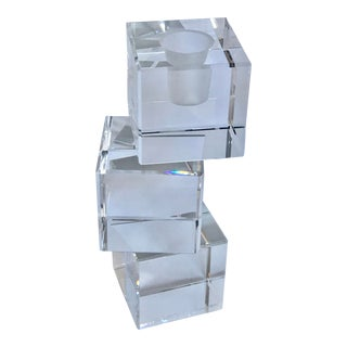 Arik Levy Baccarat Intangible Cube Crystal Candle Holder For Sale