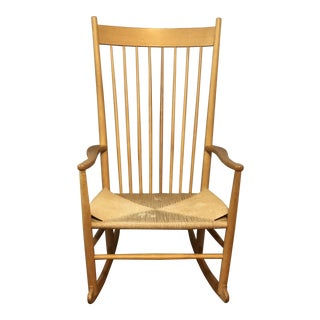 1970s Vintage Hans Wegner FDB Møbler Beech Rocking Chair For Sale