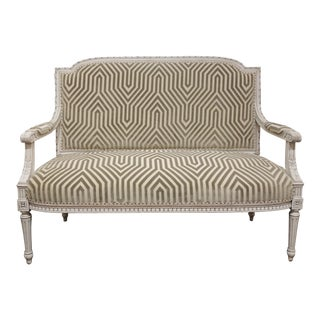Schumacher Grey Velvet French Settee