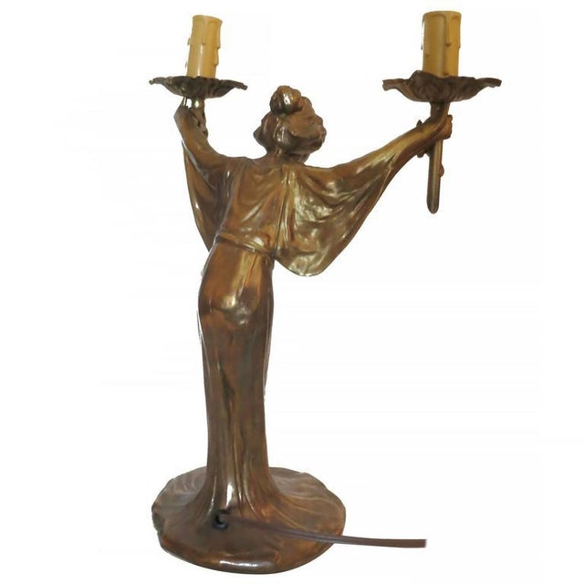 Gold Pair of Bronze Art Nouveau Style Figural Female Candelabra Lamp For Sale - Image 8 of 9