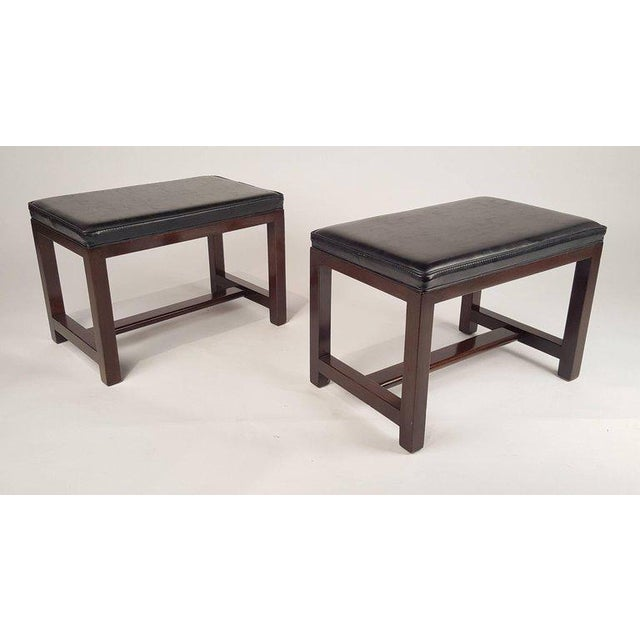1950s Two Pairs of Solid Mahogany Stools by Edward Wormley for Dunbar For Sale - Image 5 of 9