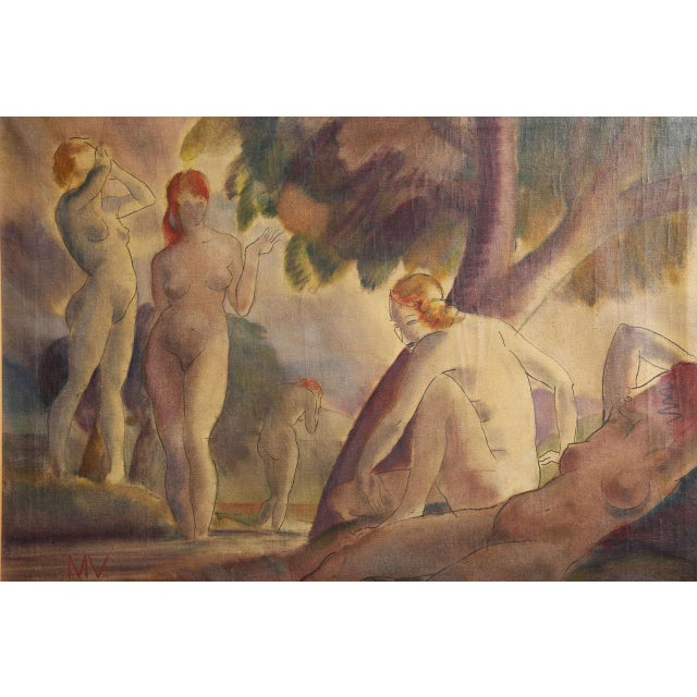 Mixed-media on canvas composition with bathing nudes, signed initialed lower left MV and dated 1938. Measures: 22 ½ x 30 ½...
