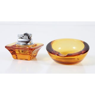 Vintage Viking Glass Mid Century Modern Amber Yellow Ashtray & Table Lighter - a Pair Preview