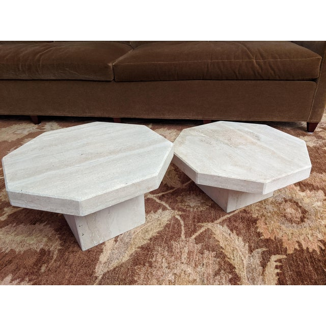 Tan 1970s Octagonal Travertine Low Tables - a Pair For Sale - Image 8 of 9