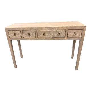 Boho Chic Grey Wash 5 Drawer Console For Sale