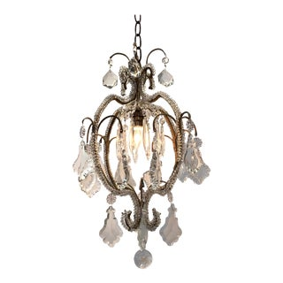 Italian Beaded Crystal Single Light Chandelier For Sale