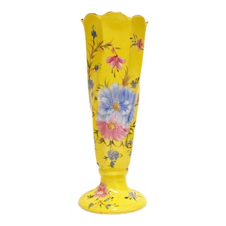 Vintage, Yellow Pink & Blue Floral Vase, Formalities by Baum Brothers For Sale