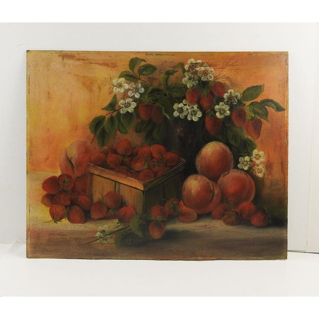 Oil on artist board still life with strawberries and peaches, circa 1910. Unsigned. Unframed, edge wear.