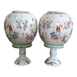 Antique Chinese Early Republic Jar Lamps - a Pair