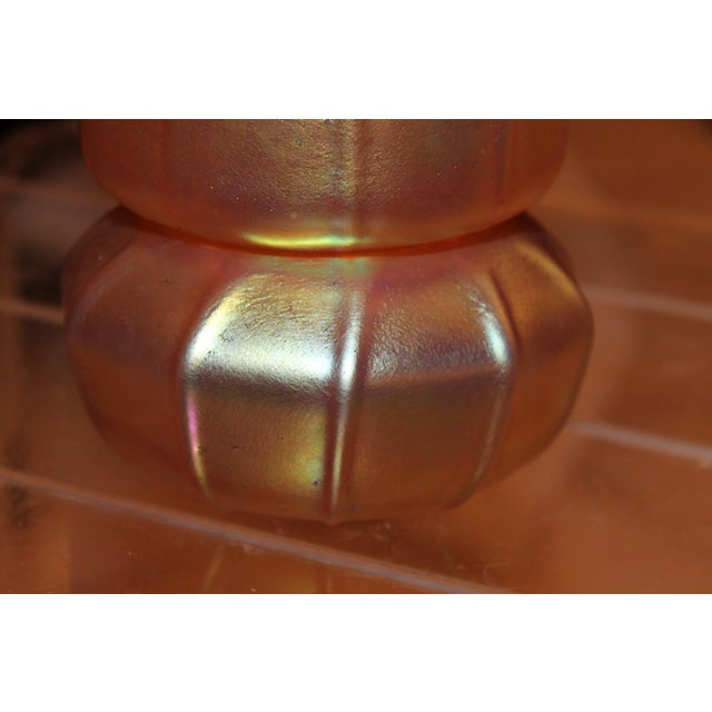 Contemporary Steuben Gold Aurene Style 2 Piece Candle Holder - Image 5 of 9