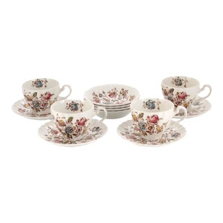 """Staffordshire English Ironstone """"Bouquet"""" Cups & Saucer Service for Four, 12 Pieces For Sale"""
