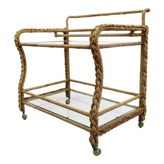 Vintage Braided Wicker and Glass 2 Tier Rolling Bar Cart For Sale