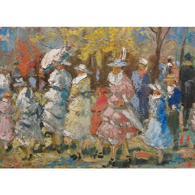 """French Impressionist """"Ladies With Parasol in an Outdoor Party"""" C.1900s For Sale - Image 4 of 10"""