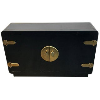 Mastercraft Black Lacquer and Brass-Mounted Credenza For Sale