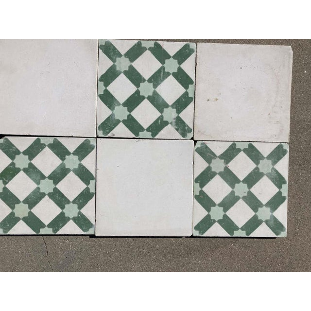 Moroccan Encaustic Cement Tile Sample with Moorish Design For Sale In Los Angeles - Image 6 of 7