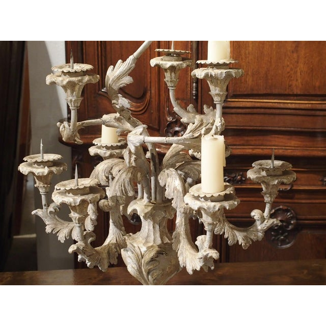 Rococo French Blue Gray Painted Rococo Style Table Candelabra For Sale - Image 3 of 10
