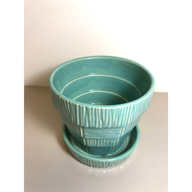 """McCoy Pottery 1940s - 1960s """"Teal Blue"""" Mid Century Flowerpot And Attached Saucer, Bark Basket Weave Design, Medium, Teal..."""
