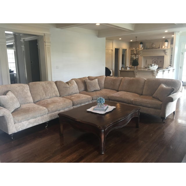 Beautiful custom made sectional upholstered in Dino Mark Anthony fabric. Custom upholstery 8-way hand tied spring. The...