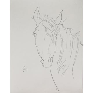 "Sarah Myers ""Horse With Windblown Mane"" Minimalist Inspired Drawing For Sale"