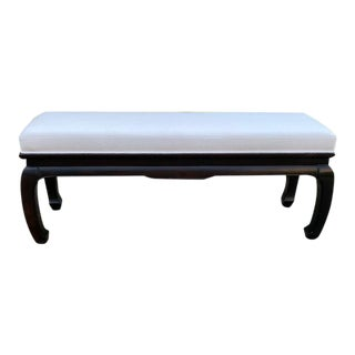 Late 20th C. James Mont Style Chinoiserie Bench Newly Upholstered For Sale