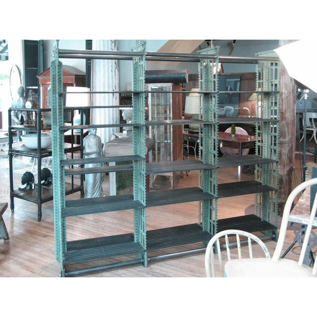 Green Pair of Antique Cast Iron Archival Library Bookcases by Snead For Sale - Image 8 of 10