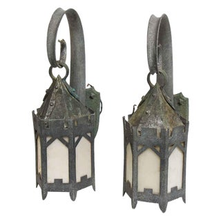Hand Hammered Exterior Sconces - A Pair For Sale