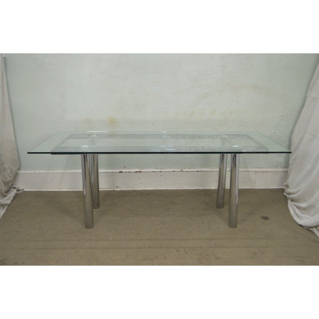 Mid-Century Modern Mid Century Modern Chrome Base Rectangular Glass Top Dining Table For Sale - Image 3 of 13