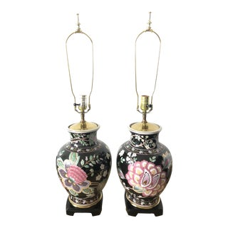 1950s Chinoiserie Famille Noir Black Porcelain Table Lamps - A Pair For Sale