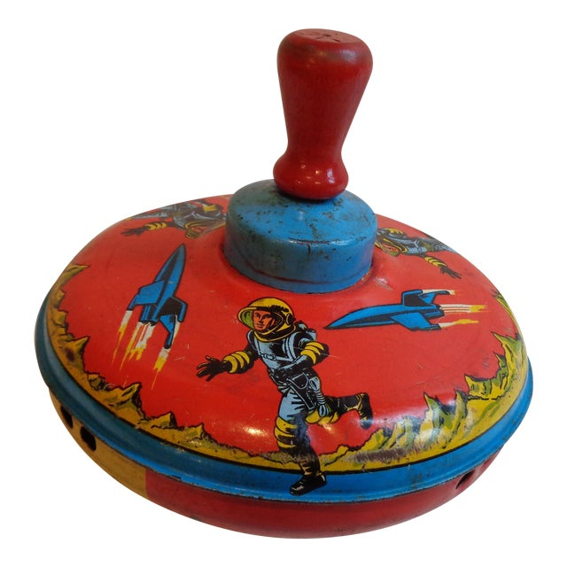1960s Metal Spinning Top Toy With Space Theme - Image 1 of 5
