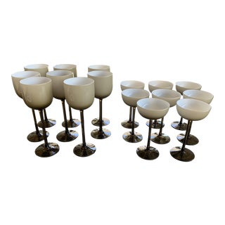 Set of 16 Carlo Moretti Cased Wine and Coupes For Sale