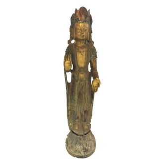 """Lg Stone Crowned Buddha Statue 54"""" H For Sale"""