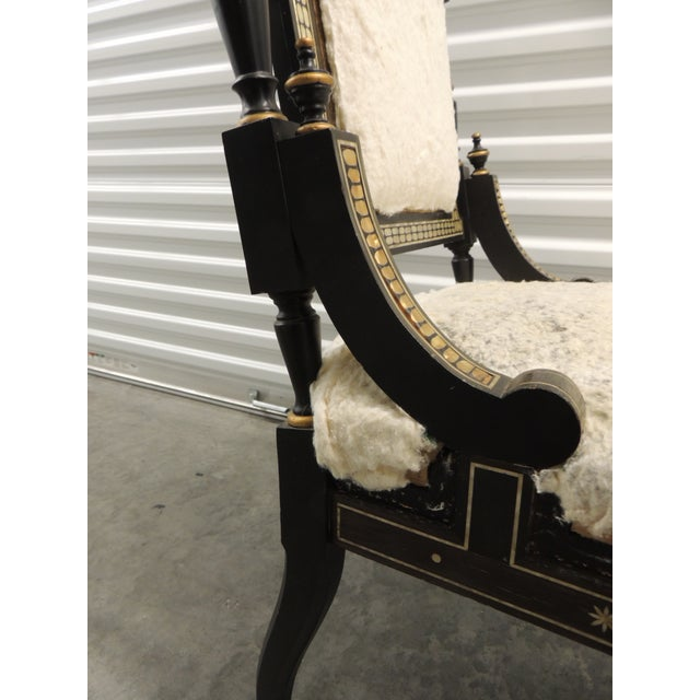 Black Vintage Moroccan Mother-Of-Pearl Inlaid Frame and Ebonized Wood For Sale - Image 8 of 12