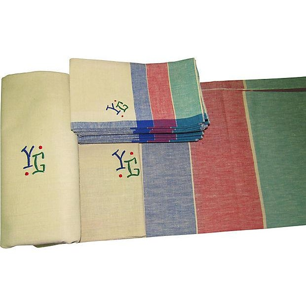 Cotton Antique French Art Deco Monogrammed Tablecloths & Napkins - Set of 14 For Sale - Image 7 of 8