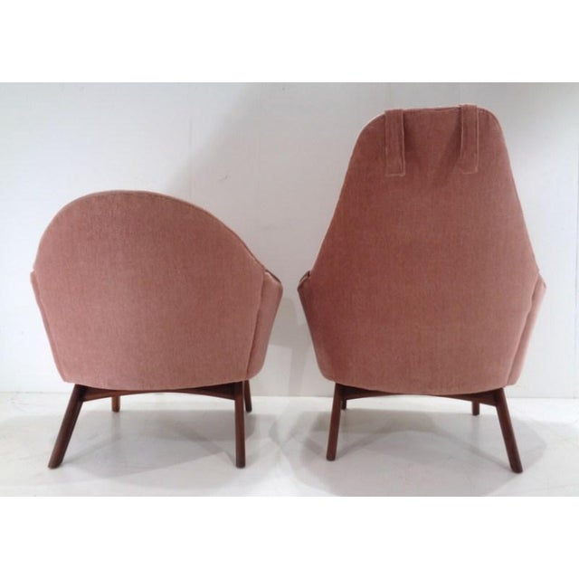 Fabric Mid Century His & Hers Adrian Pearsall Lounge Chairs For Sale - Image 7 of 13