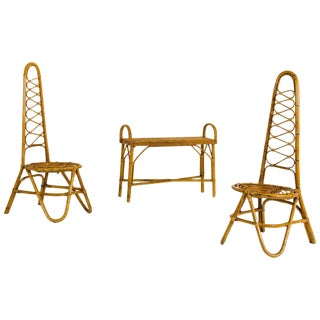 Pair of Chairs and Coffee Table, Bamboo, Circa 1950, Italy For Sale