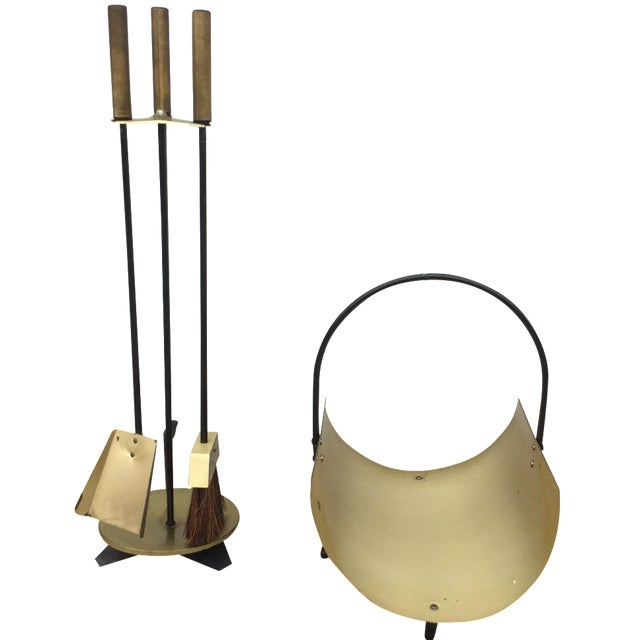 1960s Modernist Brass Fireplace Tools & Holder Set - Image 1 of 10
