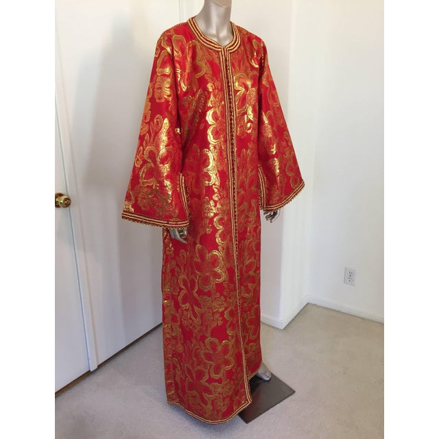 Metallic red and gold brocade maxi dress kaftan hand made by Moroccan artist. Handmade vintage exotic 1970s gold and red...