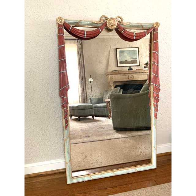 Early 20th Century Red Painted Drapery Swag Mirror For Sale - Image 9 of 13