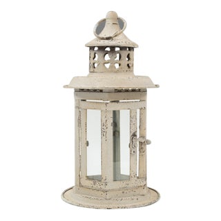 Antique White Distressed Metal and Glass Lantern For Sale