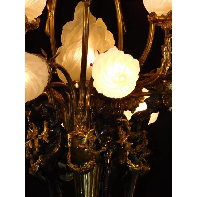 Antique Bronze Maidens Flame Globe Chandelier For Sale - Image 10 of 13