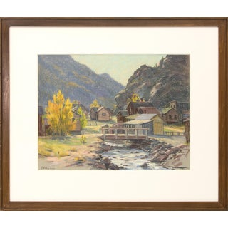 """Mountain Landscape Pastel Painting """"Silver Plume, Colorado"""" by Elsie Haynes (1881-1963) Circa 1930-1950 For Sale"""
