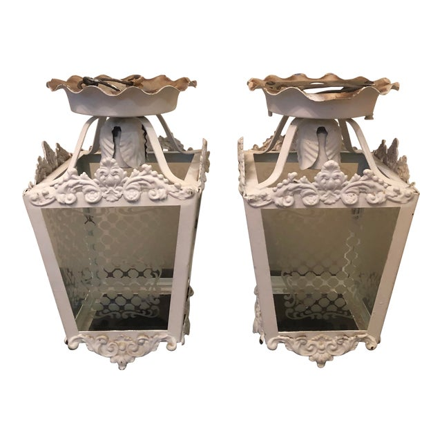 Vintage White Metal Outdoor Lights With Etched Glass Panels - a Pair For Sale
